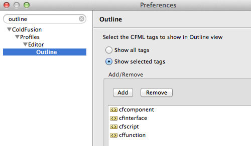 ColdFusion Builder Outline View preferences